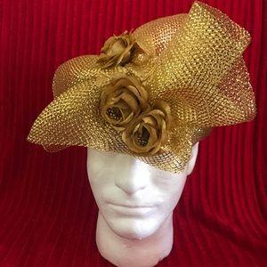 Gold Harriet Rosebud Net and Floral Headband